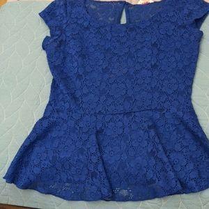 Royal Blue Peplum style Lace Top